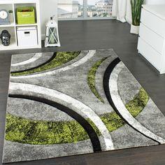 designer teppich mit konturenschnitt karo muster grün schwarz wohn, Hause deko