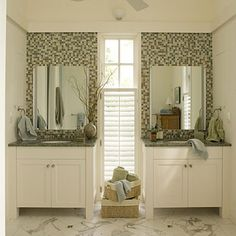 Love the tile behind the mirrors  Integrate Your Accent Tile - 65 Calming Bathroom Retreats - Southern Living