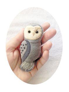 Handgefertigte Filz OwlBrosche Wald Tier fühlte von Whimsylandia