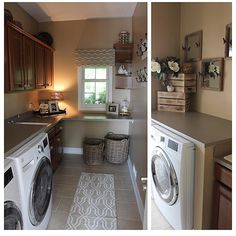 Sharing my laundry room with you. The only room I went with more of a rustic feel. Everything you see in this room is from @homegoods #homegood #homegoods... - Interior Design Ideas, Interior Decor and Designs, Home Design Inspiration, Room Design Ideas, Interior Decorating, Furniture And Accessories