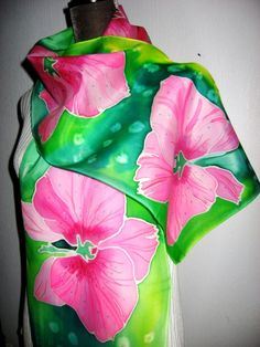 Hand Painted Silk Scarf Orchids women fashion Pink by SilkMagic, $48.00