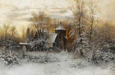 Sophus Jacobsen Winter landscape with church Winter Painting, Winter Art, Fantasy Paintings, Paintings I Love, Snow Scenes, Winter Scenes, Watercolor Landscape, Landscape Paintings, Russian Landscape