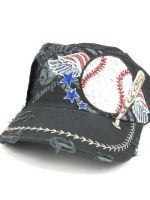 The Sport Chic  - Distressed CADET CAP with Embroidered Baseball and Rhinestones , $15.00 (http://www.thesportchic.com/cadet-cap-with-embroidered-baseball-and-rhinestones/)