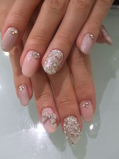 Nails, Nail Art, Nail Design, Manicure, Acrylics, Oval Nails, Cut Out, Heart, Rhinestones, Studs, Bow, Pastel, Gray, Pink,