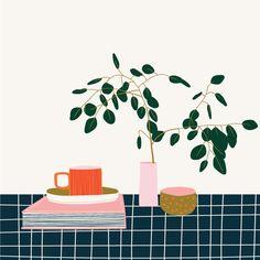 Table still life illustration eucalyptus coffee mug and book