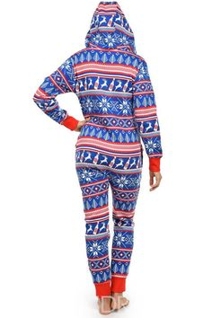 8bbf9ec902 Ericdress Christmas Print Hooded Bodysuit Pajama for Women
