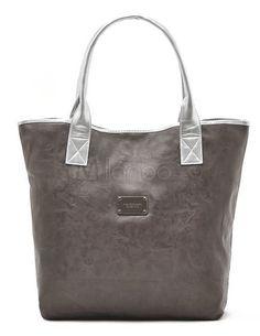 Casual Grey Artwork PU Leather Women's Tote Bag