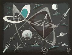 El Gato Gomez Painting Mid Century Modern Atomic Abstract 1950's SciFi Sci Fi   eBay