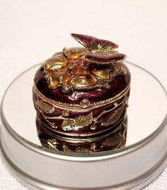 Trinket Box/Pill Box/Jewelry Box, Monet Hinged Box, Cloisonne Enamel, Applied Butterfly, Collectible Box, Boudoir Trinket Box, Vanity Box by HarlequinMuse on Etsy