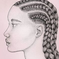 CORNROW KWEEN 👸  #illustration #cornrows #poc #dotart #braids