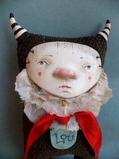 Lou the little Monster art Doll by Petuqui on Etsy