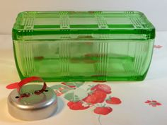 Antique Depression Glass Refrigerator Dish- Green Criss Cross Pattern - Hazel Atlas (makes me think of my grandmother).