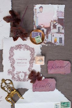 Handmade paper with soft deckled edges, a textured art card of Paris at dusk, a vintage engagement ring with crisp diamond clusters. this suite by is totally mesmerizing! Chapel Wedding, Texture Art, Plan Your Wedding, Romantic Weddings, Vintage Engagement Rings, Event Design, Wedding Designs, Floral Arrangements, Hand Lettering