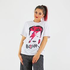 David Bowie White Cotton Cult Authentic Licenced Band T Shirt Pink Cadillac, David Bowie, White Cotton, Knitwear, Jumper, Crop Tops, Band, Tees, Womens Fashion