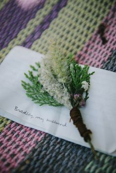Hand made boutonnière from local wild flowers #boutonniere #flowers  Brad & Nicole's wedding photos shot by Hitch and Sparrow Wedding Co. in Laguna de Apollo, Nicaragua