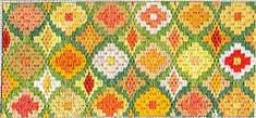 bargello needlepoint pattern based on daffodils, designed by Janet Perry