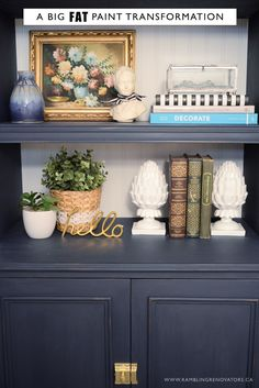 Navy bookcase painted with FAT Paint | Ramblingrenovators.ca