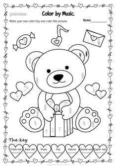 Valentine`s Day: Color by Music Bundle Music Teachers, Teaching Music, Music Education, Music Activities, Toddler Activities, Colouring, Coloring Pages, Music Theory Worksheets, Music Lessons For Kids