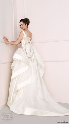 antonio riva 2016 bridal dresses v neck with strap tiered ball gown wedding dress kelly back view
