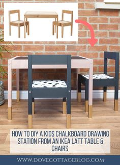 DIY IKEA hack turning the LATT childrens table and chairs upcycled into a chalkb. - Ikea DIY - The best IKEA hacks all in one place Ikea Kids Table And Chairs, Paint Kids Table, Ikea Table Hack, Ikea Hack Kids, Kid Table, Ikea Toddler Table, Ikea Table And Chairs, Dining Chairs, Desk Chairs