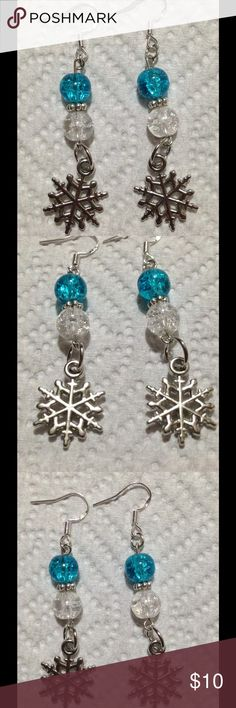 ‼SALE‼ Blue and White Glass Snowflake Earrings These unique earrings are made with sparkly blue and white glass beads. The hooks are sterling silver. These earrings and all PeaceFrog jewelry items are made by me! PeaceFrog Jewelry Earrings