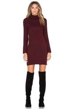 For Love   Lemons Switch Stripe Turtleneck Dress in Maroon Stripe   REVOLVE 3a0d2469b96d