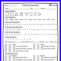 Preschool Progress Report  Free  Assessments    Free