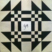 "Another of Bonnie's blocks, this one says ""Joy"".  Can't wait to see the finished quilt!  Good job, Bonnie!"