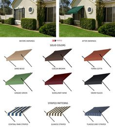 Window Awning Designer Style with Spear Supports DIY Awnings in 10 Colors | eBay