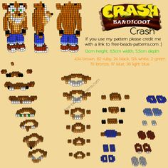 3D Crash Bandicoot free perler beads hama beads pyssla pattern