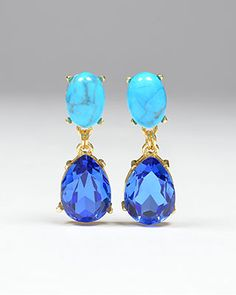 Bora Bora Blue Stone Drop Earrings Somethingvintage.com.au