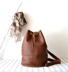 Great gift for doughter. Leather Bucket Backpack, Leather Backpack – a unique product by BarbaLeatherStudio via en.DaWanda.com