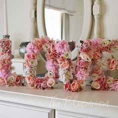 These letters are so popular, in a stunning rose gold theme - the letters are available in 8, 12, &, A-Z and 1-9. #bloomroomdesigns #flowerletters #notjustforweddings #nurserydecor #sweethearttable