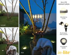 Garden | Wandlamp CURV | Boom | Metamorfose | Grondspot NERO | Outdoor lighting | Buitenspot MINI SCOPE