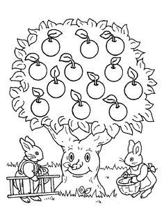 Дерево с яблоками - razukrashki.com