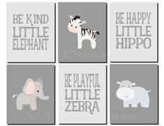 Boy Nursery Art, Jungle Animals Wall Art, Hippo, Zebra, Kids Wall Art, Jungle Friends, Safari Animals Nursery Art, Set of 6, Print or Canvas by vtdesigns on Etsy