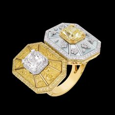 "Chanel Joaillerie. ""Soleil d'Automne"" ring in white and yellow gold, set with yellow and white diamonds and mother-of-pearl. Contrastes de Chanel collection"