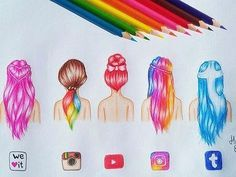 social media art discovered by Becca Styles on We Heart It Amazing Drawings, Love Drawings, Amazing Art, App Drawings, Art Sketches, Social Media Art, Apps, How To Draw Hair, What To Draw