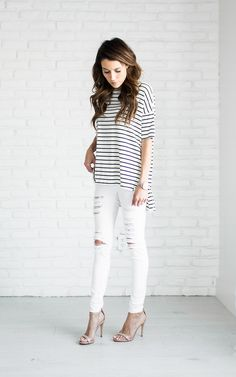 Add some glamour to an everyday t-shirt and jeans outfit by finishing the look off with a pair of open toe heeled sandals. Christine Andrew's nude sandals transform this look from casual to elegant! Cute Outfits With Jeans, Jean Outfits, Spring T Shirts, Street Style Outfits, Love Fashion, Womens Fashion, Fasion, Fashion Outfits, Striped Tee