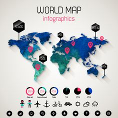 Data map, this one looks better than the one in the book. I like the colors. World Map Infographics Vector