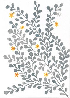 Gray vine with yellow flowers, by Naomi Ball Hand Drawn Cards, Vine Design, Painted Flowers, Yellow Background, Surface Pattern Design, Painting Patterns, Flower Wall, Yellow Flowers, Watercolors