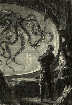 "These illustrations by Alphonse de Neuville and Édouard Riou were produced for the 1871 Hetzel edition of Jules Verne's pioneering sci-fi novel ""Twenty Thousand Leagues Under the Sea. Jules Verne, Meer Illustration, Gravure Illustration, Le Kraken, Steampunk, Leagues Under The Sea, Sci Fi Books, Sea Monsters, Sea Creatures"