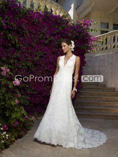 Graceful a-line lace v-neck Court Train wedding dress - gopromdres.com
