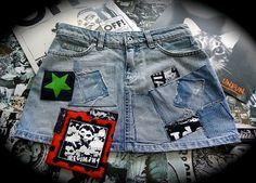 Skirt jean POST REGIMENT punk DIY par suzykiuffshop sur Etsy, $25.00