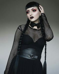 Last one. Who loves this Wednesday Addams inspired look? ️ Wearing collar, belt and skirt by Deandri Lips Black Moon Cosmetics in Abyss Lenses TTDeye (discout code obsidiankerttu) Lashes Dodolashes (discount code obsidiankerttu)