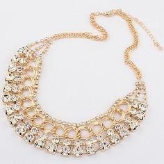 New-Fashion-Jewelry-Crystal-Choker-Chunky-Statement-Bib-Pendant-Chain-Necklace