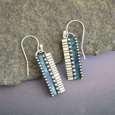 Faux Ivory and iridescent  polymer sterling by LizardsJewelry, $55.00