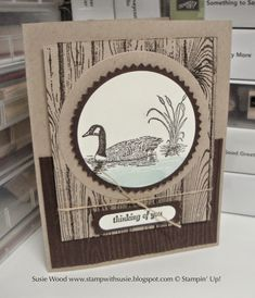 Stampin' Up!- Here is a great guy card!  I used 'Moon Lake', along with the 'Hardwood' Background stamp.