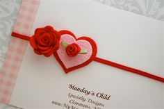 Valentines Day Headband - Felt Flower Headband in Red and Pink Hearts - Newborn Baby Headbands to Adult. $6.95, via Etsy.