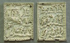 Charles the Bald prayer book cover ivories: psalms 26 and 24, c.860, Zurich Schweizerisches Landesmuseum AG-1311, DIG-3437